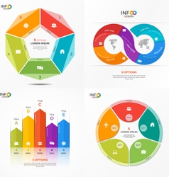 set of infographic templates with 5 options vector image