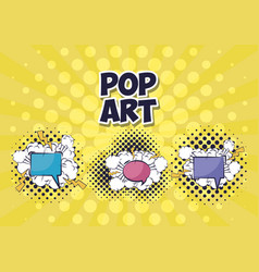 set of speech bubbles with rays pop art style vector image