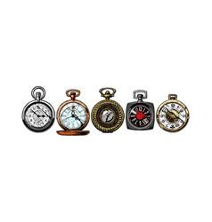set pocket watches vector image