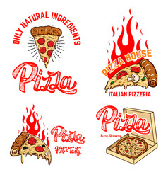 set poster template with pizza and fire vector image