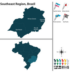 southeast region of brazil vector image