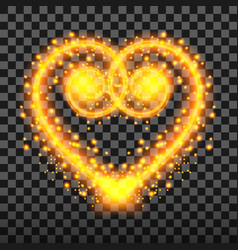 special light effect of the heart with golden vector image