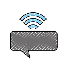 Speech bubble message with wifi signal vector