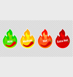 Spicy chili pepper hot fire flame labels spicy vector