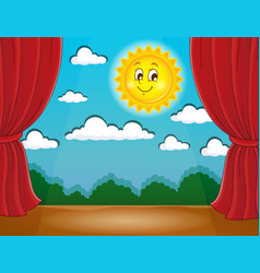 Stage with happy sun 1 vector