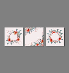 Templates set with eucalyptus and flowers vector