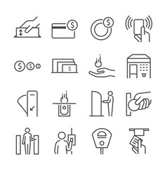 ticket machine line icon set 2 vector image