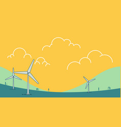 Wind power turbine on hill with sky vector