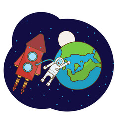 with an astronaut rocket moon vector image