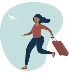 woman traveler with luggage vector image