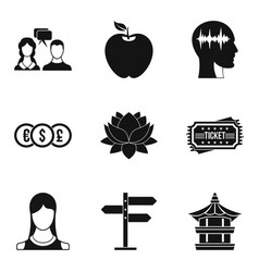 yoga exercise icons set simple style vector image