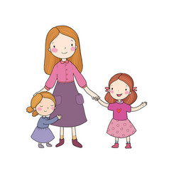 Young mother and two daughters cute cartoon vector