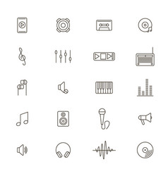 acoustics and sound black thin line icon set vector image vector image