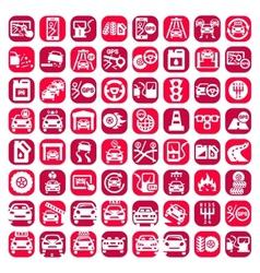 big color auto icons set vector image vector image