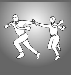 businesspeople passing relay baton vector image