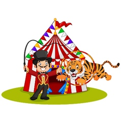 Cartoon tiger jumping through ring with circus vector
