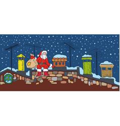 christmas night and santa vector image