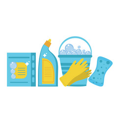 cleaning supplies cleaning tools set household vector image