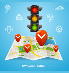 navigation concept card or poster vector image vector image