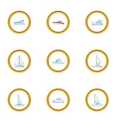 pleasure boat icons set cartoon style vector image