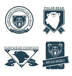 Retro vintage bear head logo templates set vector image vector image