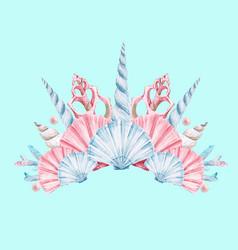 Watercolor coral crown vector