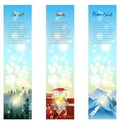 3 landscape banners vector image vector image