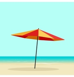Beach umbrella on seaside sea coast with vector image
