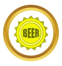 Beer bottle cap icon cartoon style vector image vector image