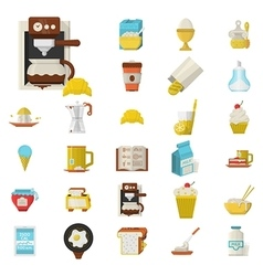 Breakfast flat color icons set vector image vector image