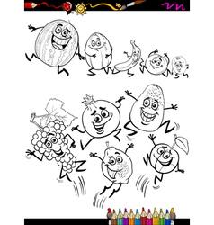 Funny fruits set cartoon coloring page vector