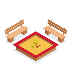 isometric sandbox with toys and benches vector image