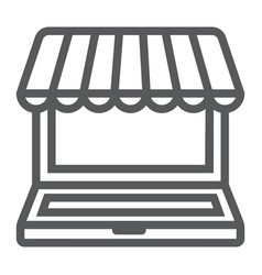 marketplace online line icon e commerce vector image