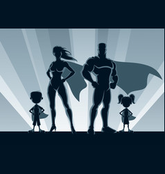 superhero family silhouettes vector image