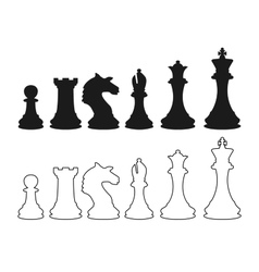 chess figures silhouette vector image vector image