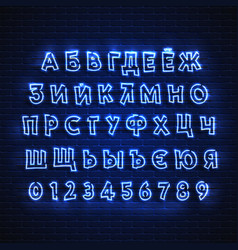 russian neon font glowing alphabet electric vector image