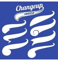 Vintage swash baseball logo tails set vector