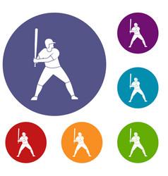 baseball player with bat icons set vector image