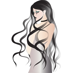Goth girl with long black hair in white dress vector image vector image