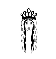 silhouette head queen long hair and crown vector image