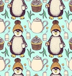 Sketch pinguin in hat with tea vector image