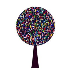 World people tree vector image