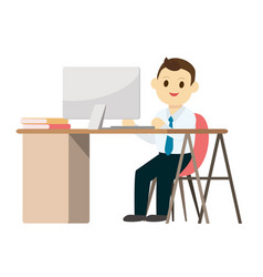 young business man working on desk with computer vector image vector image