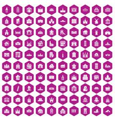 100 building icons hexagon violet vector