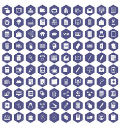 100 folder icons hexagon purple vector