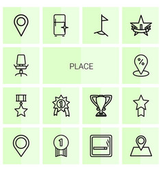 14 place icons vector