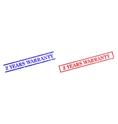 2 years warranty grunge scratched seal stamps vector