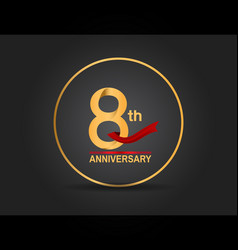 8 anniversary design golden color with ring vector
