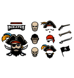 A set of elements for creating pirated logos hats vector
