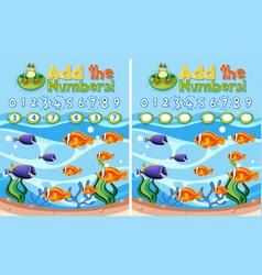 Add numbers underwater reef vector